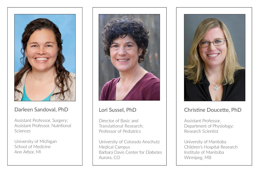Headshots of Drs. Sandoval, Sussel and Doucette