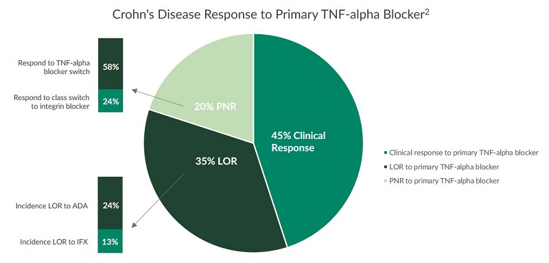 This pie chart represents the statistics for Crohn's Disease response to primary TNF-alpha blocker biologics.