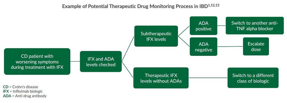 This flow chart illustrates an example of a therapeutic drug monitoring process in IBD for biologics.
