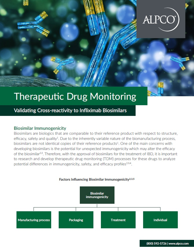 A thumbnail preview of our brochure validating the cross-reactivity to Infliximab biosimilars.