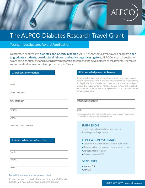 A thumbnail preview of our diabetes travel grant application form.