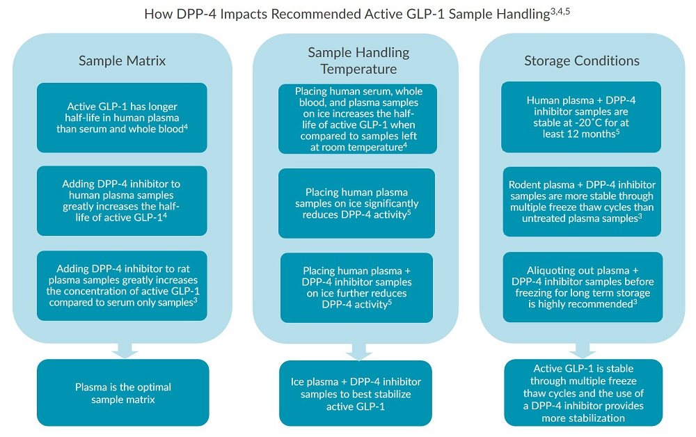 This chart outlines how DPP-4 impacts recommended active GLP-1 sample handling.